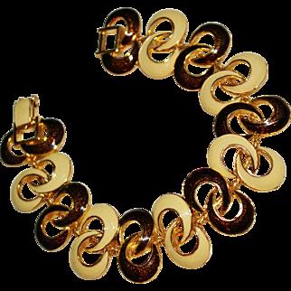 Vintage DOLCE & GABBANA Enamel Swirl Bracelet, 1980's, Cream & Brown, Gold Retro