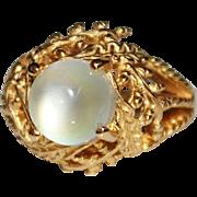 Vintage 14k Yellow Gold Filigree MOONSTONE Cabochon Custom Estate Ring, Size 6.5
