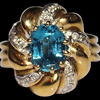 Estate Vintage 14k Yellow Gold Swiss Blue Topaz & Diamond Ring Size 8 - 10.1 Grams