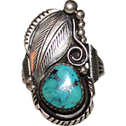 Vintage NAVAJO Signed ED KEE Sterling Turquoise Leaf Raindrops Ring, Size 9 1/2