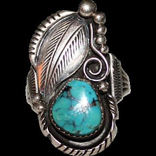 Vintage NAVAJO Signed ED KEE Sterling Turquoise Leaf Raindrops Ring, Size 9 1/2