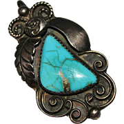 Lovely Vintage 1970's Sterling & Turquoise NAVAJO Indian Signed Pendant, 10.7 G