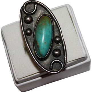 Vintage MOD Navajo Indian 1960's Oval Turquoise Ring, Large Design, Size 6