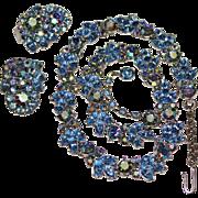 Vintage TRIFARI Pastel Blue AB Rhinestone Necklace & Earrings Set, Demi Parure