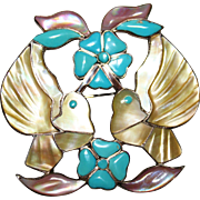 HTF Zuni Indian JACK MAHKEE Inlay Turquoise, Pink MOP Hummingbird Brooch Pendant