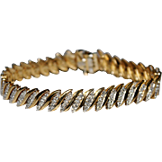 "Estate 14k Yellow Gold 2 CTW Diamond Tennis Bracelet, 7"", 20.4 Grams"