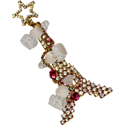 Rare DOROTHY BAUER Vintage Rhinestone EIFFEL TOWER Frosted Glass Poodle Brooch