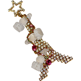 Rare DOROTHY BAUER Vintage  Rhinestone EIFFEL TOWER Christmas Tree Frosted Glass Poodle Brooch BK PC