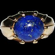 Vintage Estate 14k Yellow Gold MOD Blue Lapis Cabochon Ring, Size 9 1/2