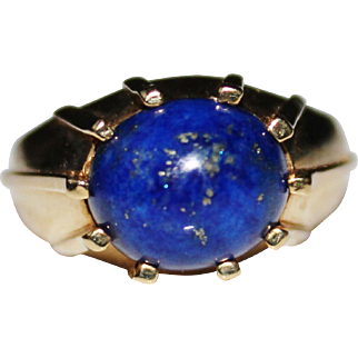 Vintage Estate 14k Yellow Gold MOD Blue Lapis Cabochon Ring, Size 9 1/2