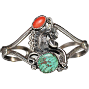 Vintage 1970's Navajo Indian Sterling Turquoise & Coral Cuff Bracelet, Fancy!