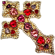 Vintage DOROTHY BAUER Bejeweled Rhinestone Cross Brooch, Hearts, Red & Pink
