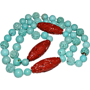 Opera Length Vintage Carved Chinese Turquoise Shou Bead Carved Jasper Necklace