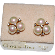 Vintage CHRISTIAN DIOR New Old Stock Faux Pearl Rhinestone Earrings, 14k Posts