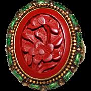 Vintage Chinese Export Silver Vermeil Carved Cinnabar Enamel Ring, Adjustable