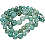 "30"" Vintage Graduated CHINESE Turquoise Bead Necklace, Knotted, 118 Grams"