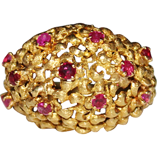 Vintage Estate 18K Yellow Gold Ruby Cocktail Ring, Dome, Filigree, Size 7 - ITALY