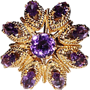 Vintage Estate 14K Yellow Gold Amethyst Cocktail Ring, Dome, Open Work, Size 6