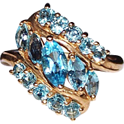 Estate 10k Yellow Gold Marquise Cut Blue Topaz Cluster Ring, Size 8