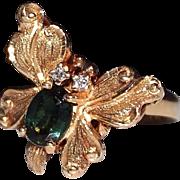 Vintage Estate 14k Gold Green Tourmaline & Diamond Butterfly Ring, Size 6 1/2