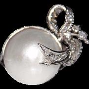 Art Deco 18k White Gold Mabe Pearl Diamond Ribbon Bow Ring, 8.4 Grams