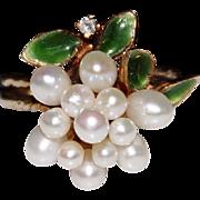 Very Sweet Vintage 14k Yellow Gold Enamel, Diamond & Pearl Cluster Ring, Size 5.75