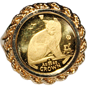 Vintage 1990 10K 24K Yellow Gold ISLE OF MAN Cat Coin Ring, Size 6 NY Alley Cat