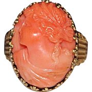 Antique Victorian 10k Gold Carved Salmon Coral Cameo Ring, Size 8 - 8 Grams