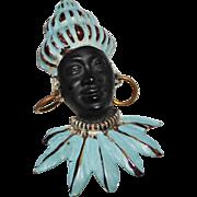 Vintage Light Blue Enamel Blackamoor Tribal Figural Bust Pin Brooch
