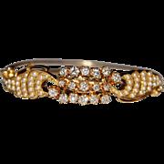Vintage 14k Yellow Gold Diamond & Seed Pearl Hinged Bangle Bracelet. 2.74CTW