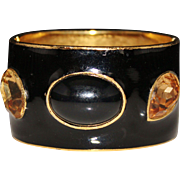 Chunky Vintage CINER Black Enamel Citrine Rhinestone Hinged Bangle Bracelet