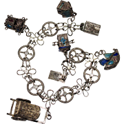 """Antique Chinese Export Silver Filigree Enamel Charm Bracelet, 5 Charms, 7 3/8"""""""