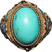 Vintage CHINESE EXPORT Silver Turquoise Cabochon Enamel Filigree Adjustable Ring