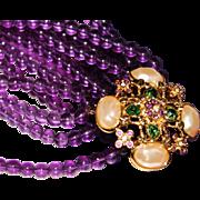 Vintage Elizabeth Taylor FOREVER VIOLET Amethyst Glass 8 Strand Necklace w/Box