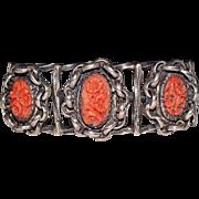 Unusual Vintage Navajo Indian 3 Stone Carved Coral Sterling Cuff Bracelet, 50.7G