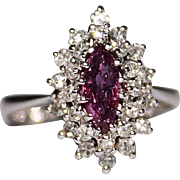 Vintage TRUBRITE 14k White Gold Marquise Ruby & Diamond Cluster Ring, Size 5.75