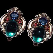 TRIFARI Sterling Green & Multi Color Rhinestone JEWELS OF TANJORE Earrings