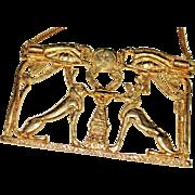 HUGE Vintage ACCESSOCRAFT Egyptian Revival Motif Pendant Necklace, Bold