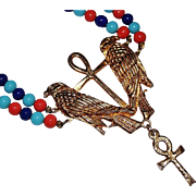 Colorful Vintage ACCESSOCRAFT Egyptian Revival Ankh Ibis Bird Art Glass Necklace