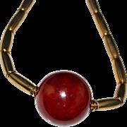 Vintage 1970's YSL Yves Saint Laurent Bakelite Brass Necklace, CHUNKY & BOLD