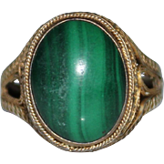 CHINESE EXPORT Vintage MALACHITE Sterling Filigree Adjustable Ring
