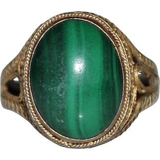 CHINESE EXPORT Vintage MALACHITE Sterling Filigree Adjustable Ring