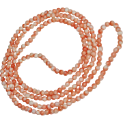 "Vintage Salmon Angel Skin Coral Bead Necklace, Opera Length, 34"", 4mm"