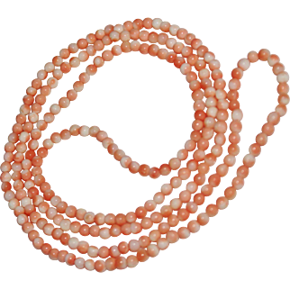 """Vintage Salmon Angel Skin Coral Bead Necklace, Opera Length, 34"""", 4mm"""