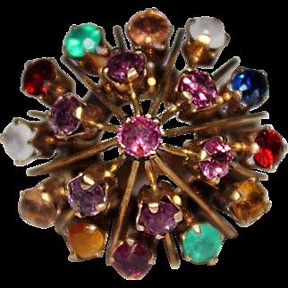 Vintage 14k Yellow Gold Asian Princess Harem Ring, Multi Stone, Sapphire, Ruby