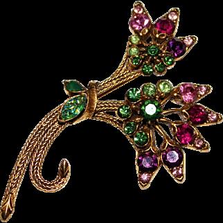 Vintage FLORENZA Multi Color Rhinestone Art Glass Floral Spray Bouquet Brooch