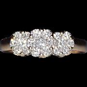 Estate 14k Gold Past, Present, Future 1CTW Diamond Cluster Ring, Size 8.5