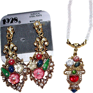 1928 Molded Glass Fruit Salad Necklace, Earrings Set, Frosted Glass Rhinestones