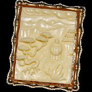 Vintage HATTIE CARNEGIE Asian Scene Molded Plastic Faux Ivory Brooch Pendant