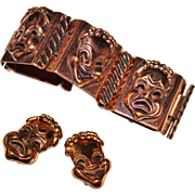 Vintage RENOIR Copper Comedy Tragedy Drama Mask Face Panel Bracelet Earrings Set